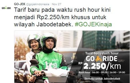 tarif rush hour gojek, tarif rush hour gojek terbaru, tarif gojek terbaru, rush hour gojek 2016