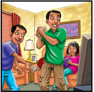Clipart image of a family playing video games