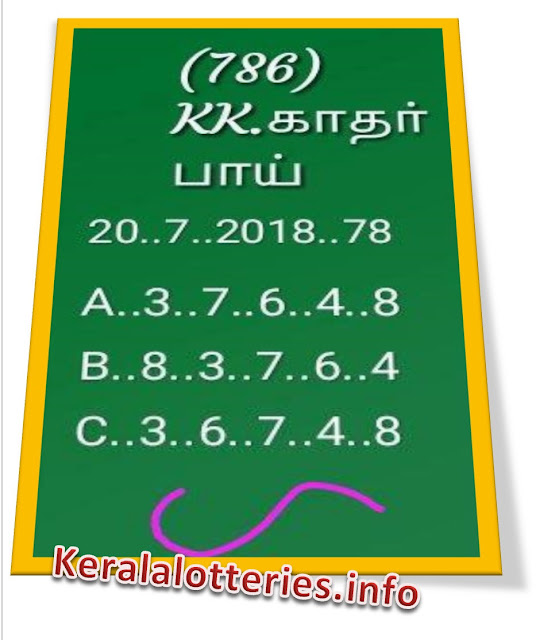KK Kerala Lottery abc all board Guessing  20-07-2018 nirmal NR-78