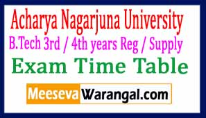 Acharya Nagarjuna University B.Tech 3rd / 4th years Reg / Supply Exam Time Table April 2017