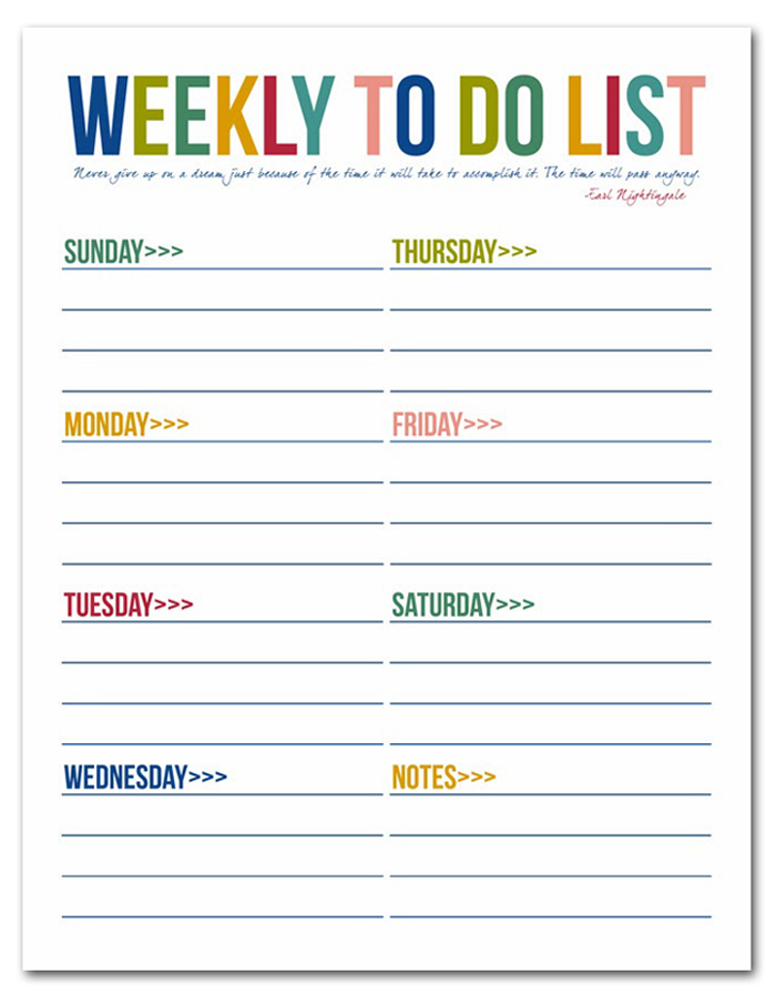 Bright image throughout free to do list printables