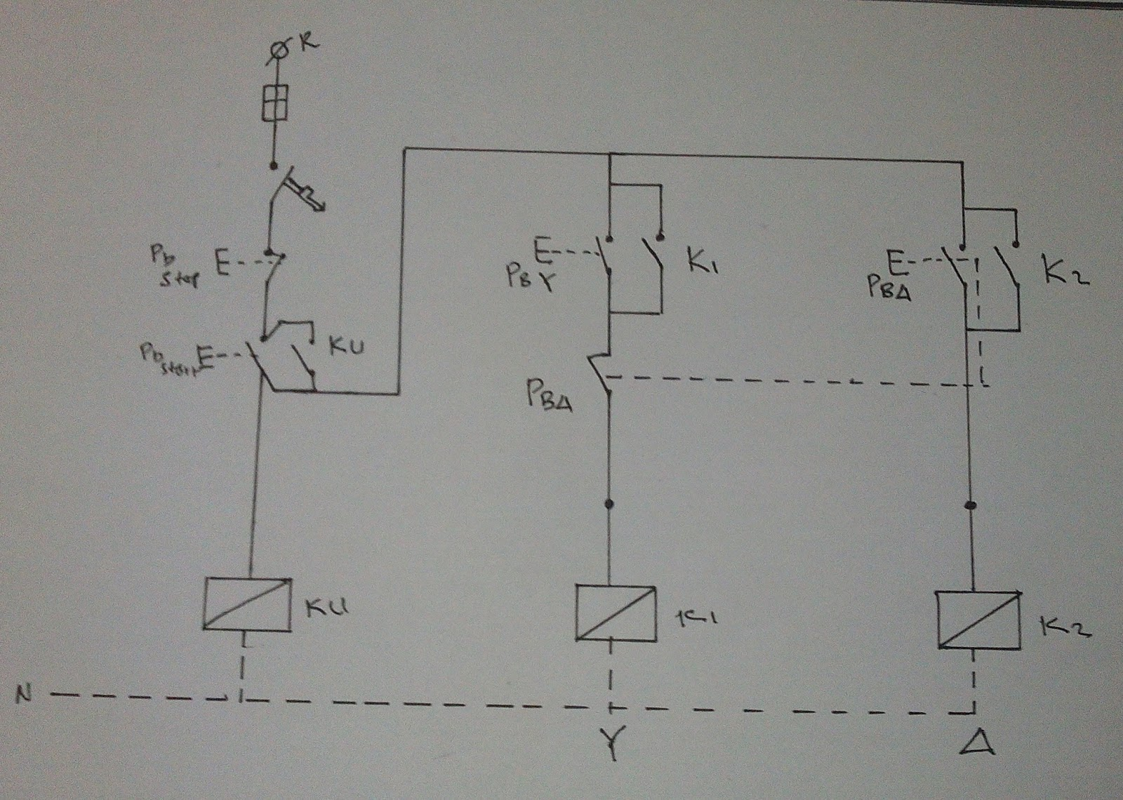 Starter Wiring Connection Diagram Library Single Phase Motor Reversing Star Delta In 3 Induction