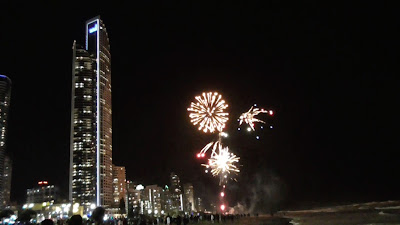 Fireworks in front of the Soul Tower Surfers Paradise Beach