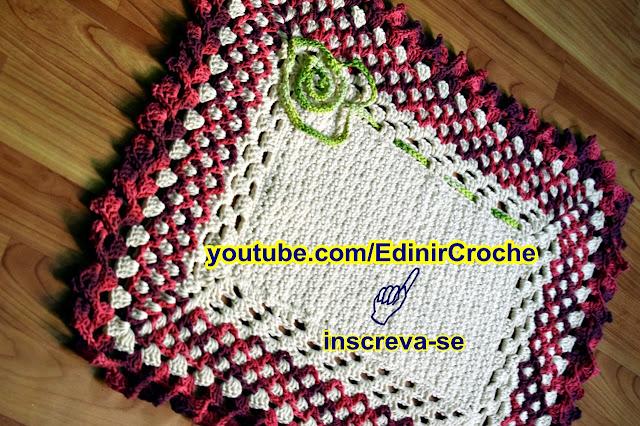 Edinir Croche ensina tapete de croche textura para canhota passo a passo