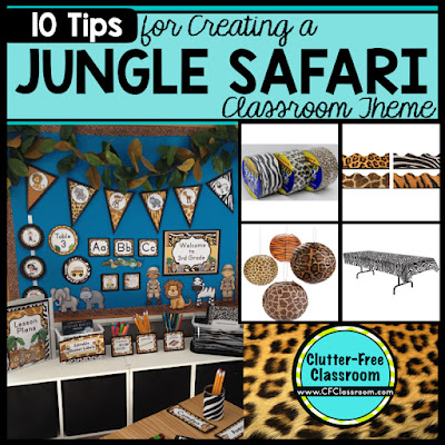 Are you planning a Jungle Safari themed classroom or thematic unit? This blog post provides great decoration tips and ideas for the best Jungle Safari theme yet! It has photos, ideas, supplies & printable classroom decor to will make set up easy and affordable. You can create a Jungle Safari theme on a budget!