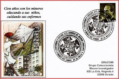 Tarjeta del matasellos del Centenario del Colegio de Santo Domingo de Guzmán en Mieres.