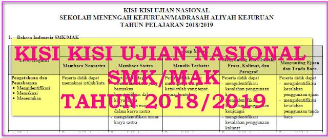 KISI KISI UJIAN NASIONAL (UN) SMK/MAK KURIKULUM 2013 BSNP  TAHUN 2019