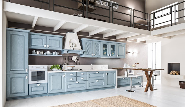 one wall timeless kitchen design with pale blue cabinets