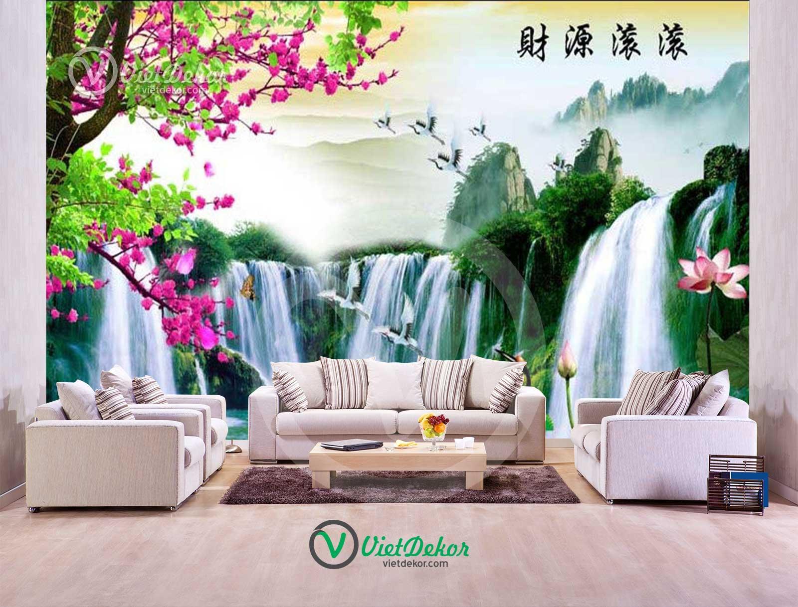 Tranh dán tường 3d thác nước hoa đào