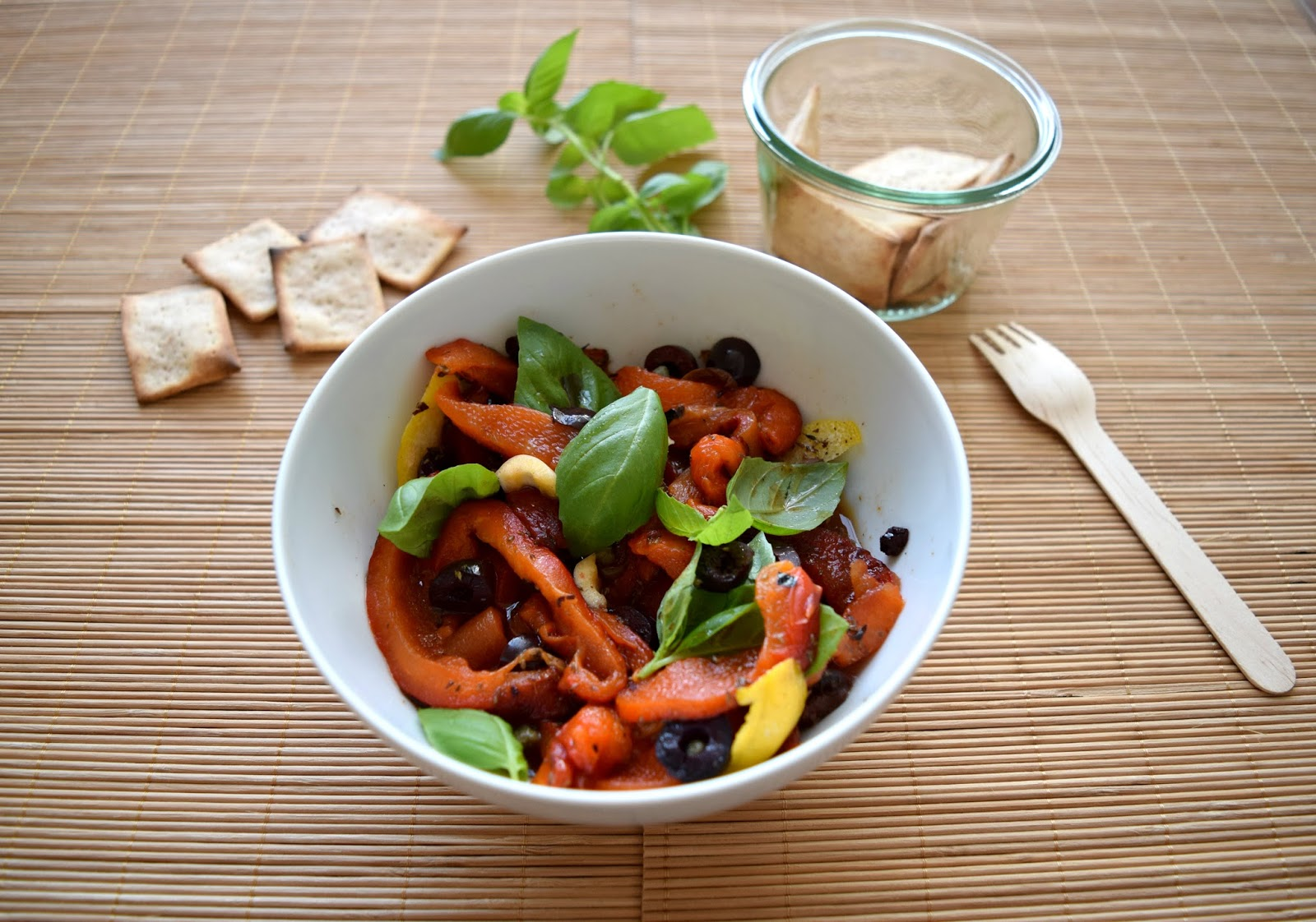 Grilled pepper salad with capers, olives and lemon