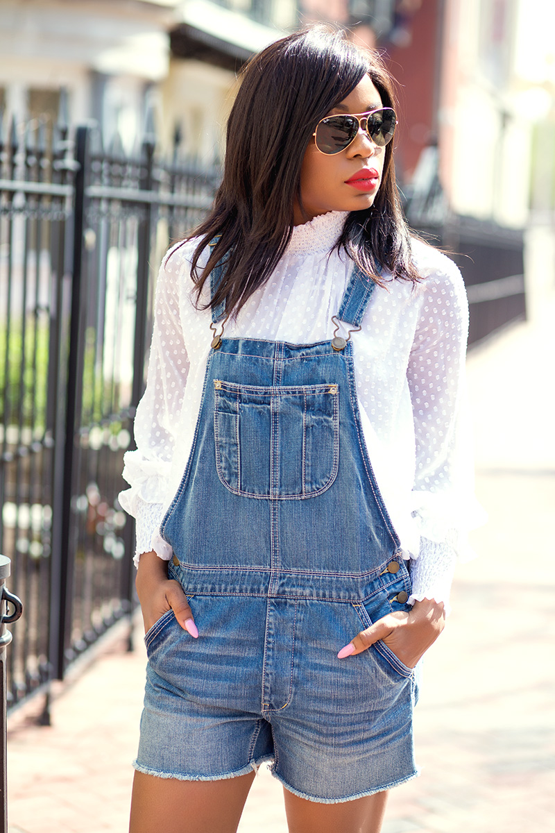 casual look, chicwish blouse, denim overall, www.jadore-fashion.com