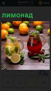 На столе стоят два сосуда с лимонадом и фруктами из которых сделаны напитки красного цвета и белого соответственно