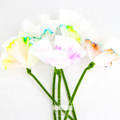 make beautiful flower using coffee filters, washable markers, pipe cleaners and chromatography