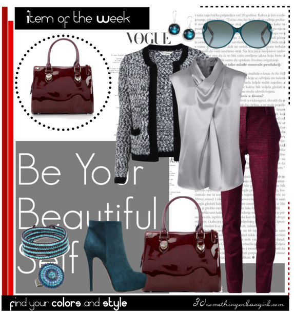 chic fall work wear with oxblood bag, silver and petrol
