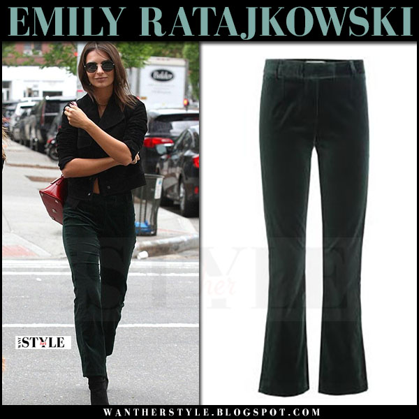 Emily Ratajkowski in dark green velvet pants frame denim may 7 2017 what she wore streetstyle