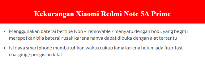 Spesifikasi dan Harga Xiaomi Redmi Note 5A Prime