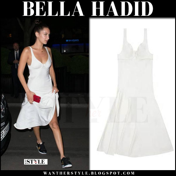 Bella Hadid in white bustier midi dress what she wore june 10 2017 paris