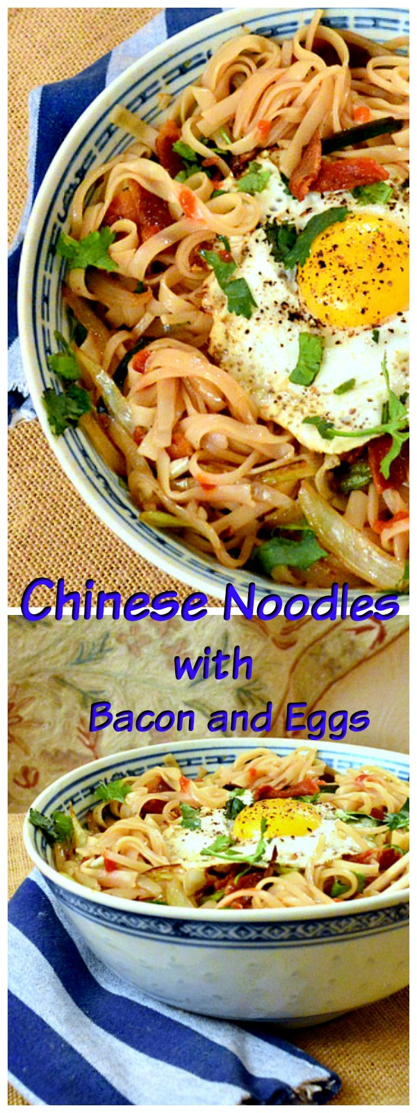 Chinese Noodles with scallions and bacon and topped with and angry egg are peppery and addictive. Try them and you will agree! www.thisishowicook.com #asianfood #chinesefood #noodles