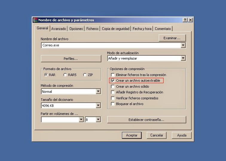 Marcar opción auto-extraíble
