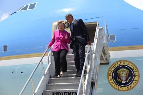 Hillary Clinton and Barack Obama land in North Carolina aboard Air Force One