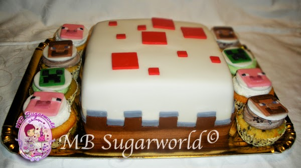 torta e cupcake mine craft