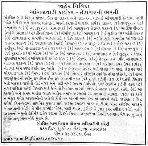 ICDS Idar Recruitment 2016 for Anganwadi Worker and Helper Posts