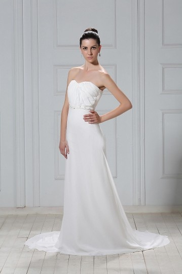 Robe de mariée simple Fourreau décolleté en cœur à traîne Court plissée