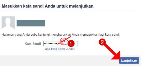 Masukkan kata sandi akun Facebook Anda untuk melanjutkan penonaktifan
