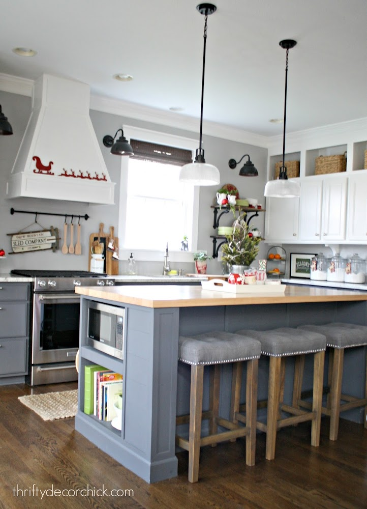 two toned kitchen gray white