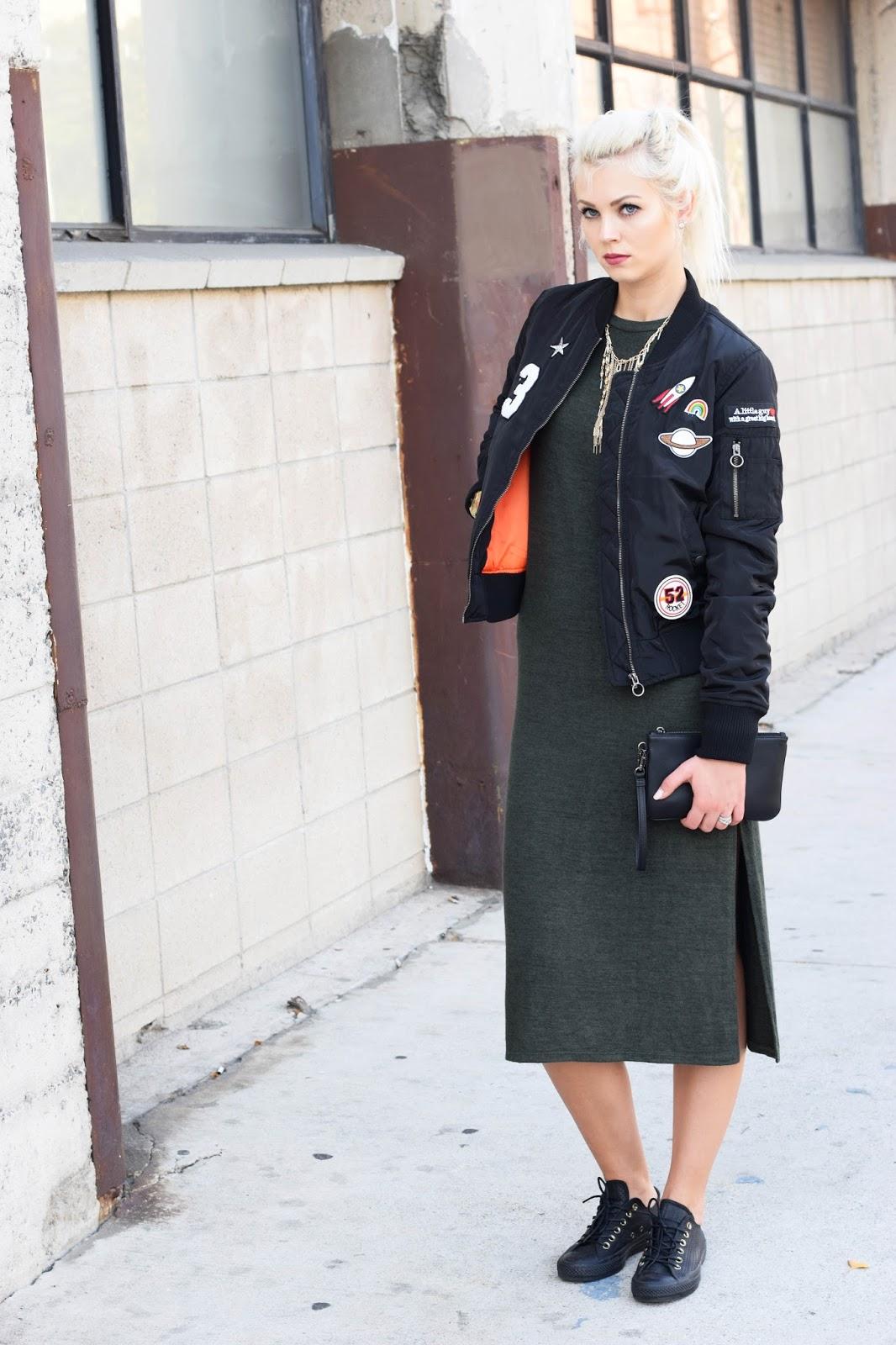 bomber jacket, midi dress, coach rexy collection