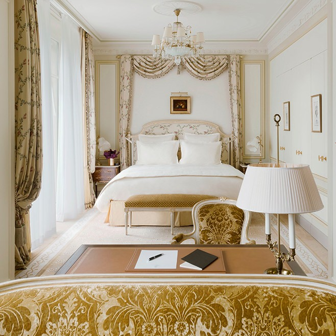 Breathtaking feminine romantic bedroom suite renovated Ritz Paris