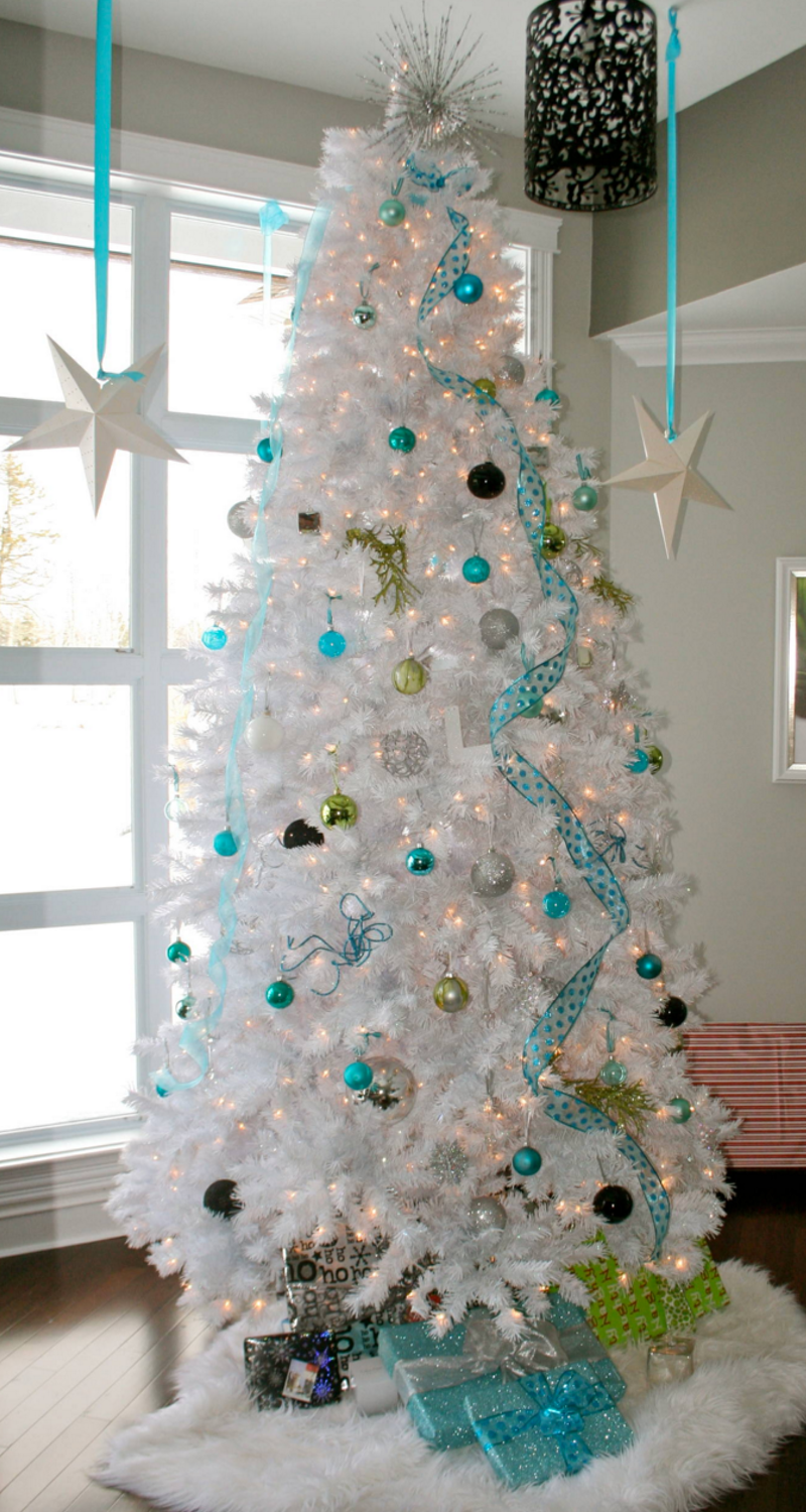White Christmas Tree with Turquoise