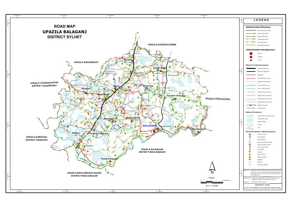 Balaganj Upazila Road Map Sylhet District Bangladesh