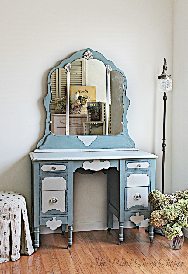 Vintage vanity painted in Duck Egg Blue and Old White.
