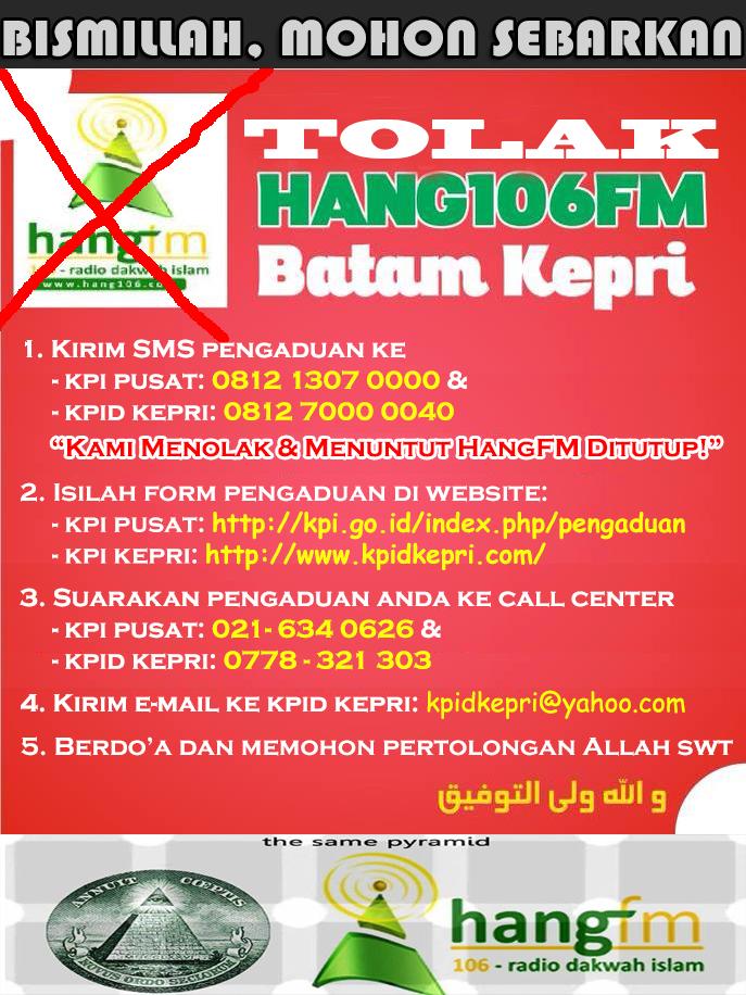 Umat Islam Tolak Hang FM