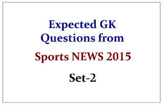 Expected GK Questions from Sports NEWS 2015 Set-2