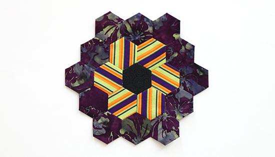 Hand Sewn EPP Hexagon Flower Block 13