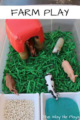 Farm animals in a handmade farm small world