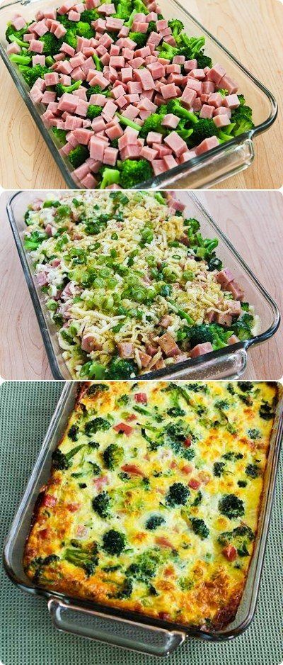 BROCCOLI, HAM, AND MOZZARELLA BAKED WITH EGGS #broccoli #ham #mozzarela #eggs #breakfastrecipes #breakfastideas