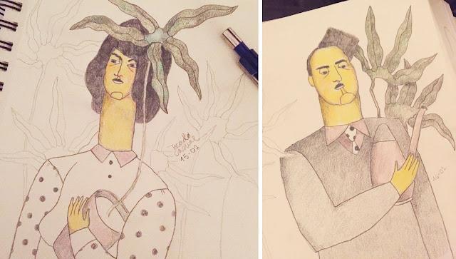 Ilustración mujer con planta. Ilustración pareja con macetas y plantas.