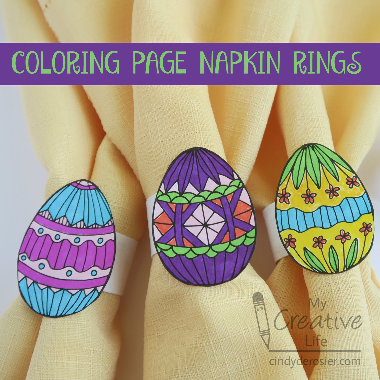 you can turn just about any coloring page into napkin rings but i chose to use one of my favorite pages from easter wonders color art i received this