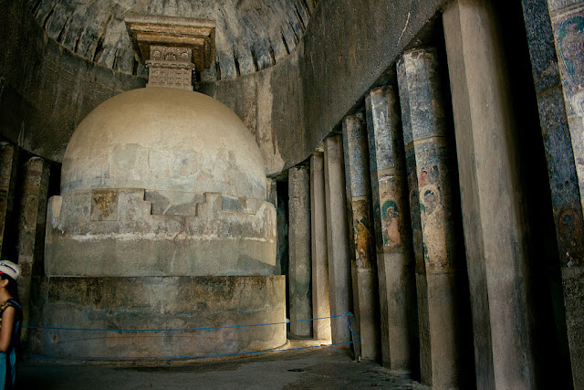 central stupa and simple octagonal pillars of Ajanta cave number 10