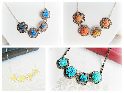 image filigree and cab necklaces brass copper silver orange blue turquoise yellow vintage