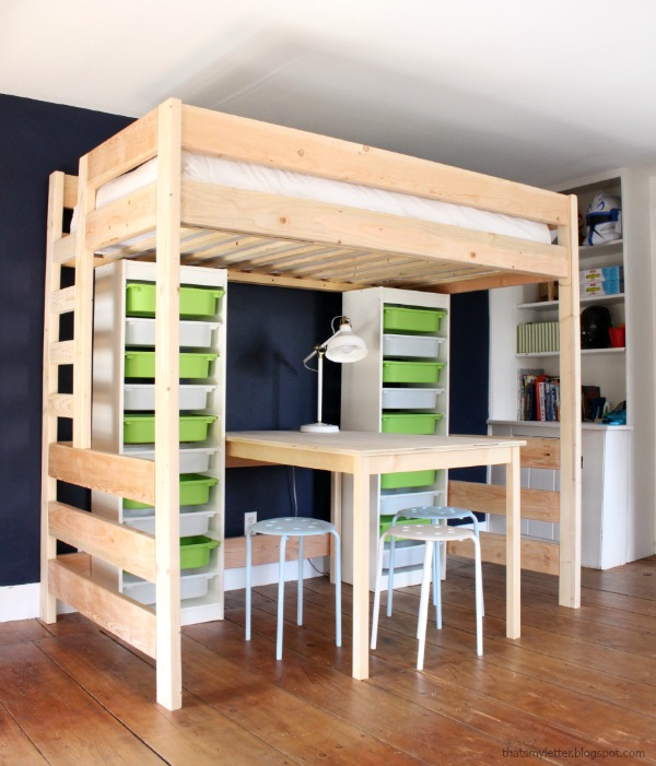 loft bed with lego storage and work space