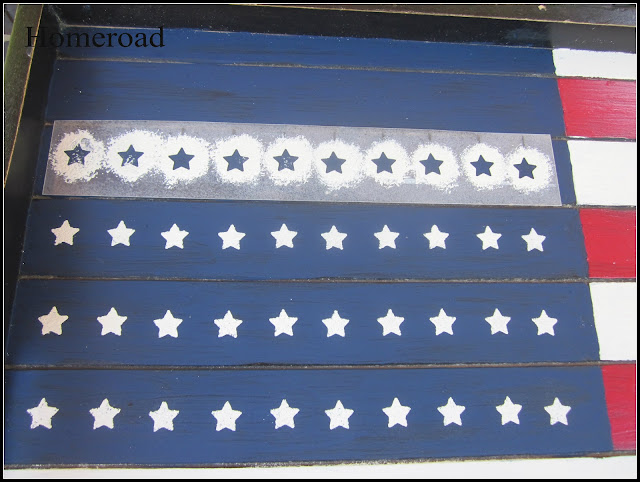 american flag tray with DIY star stencil