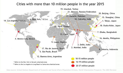 The world's largest cities in 2015