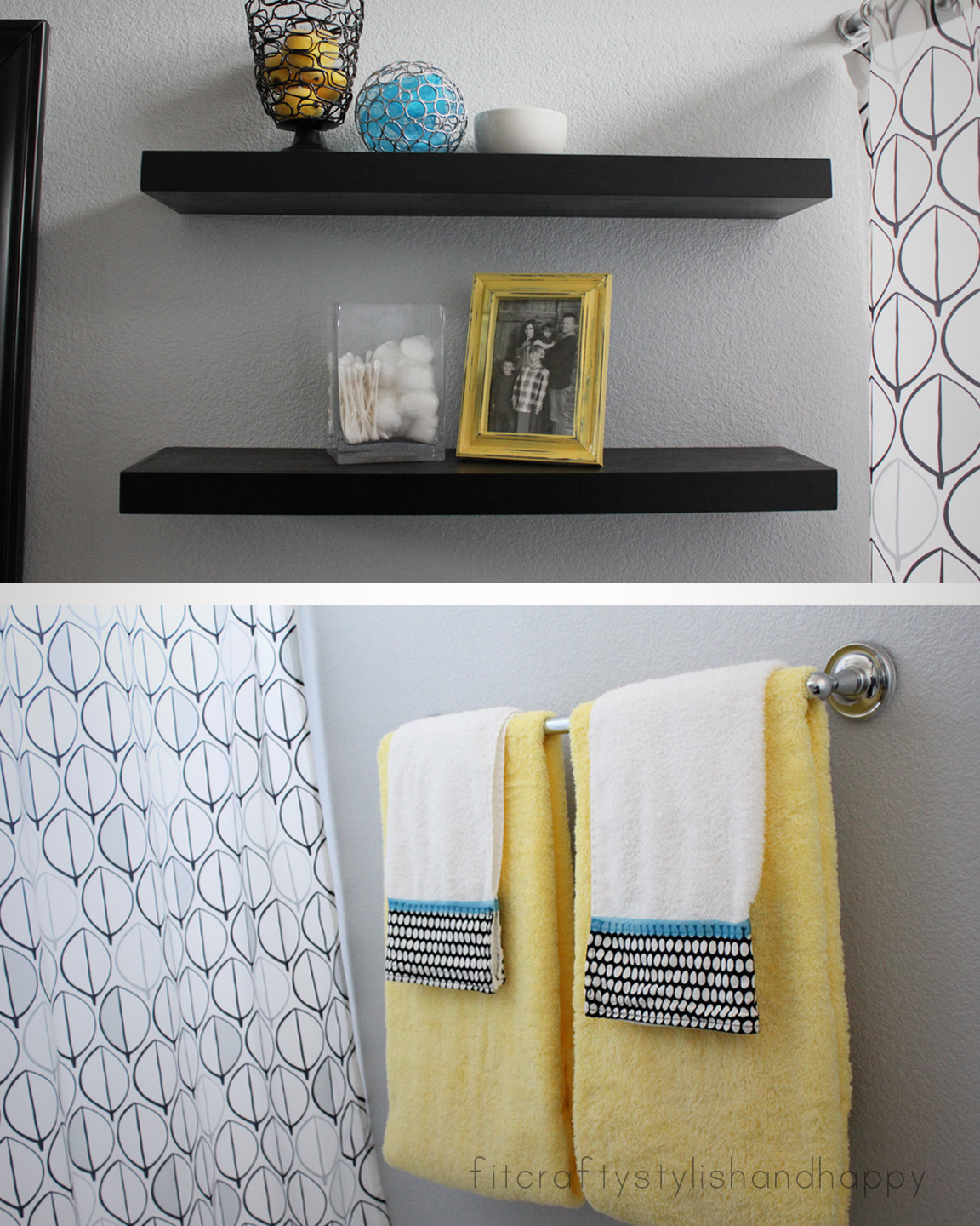 Fit crafty stylish and happy guest bathroom makeover for Yellow and brown bathroom decor