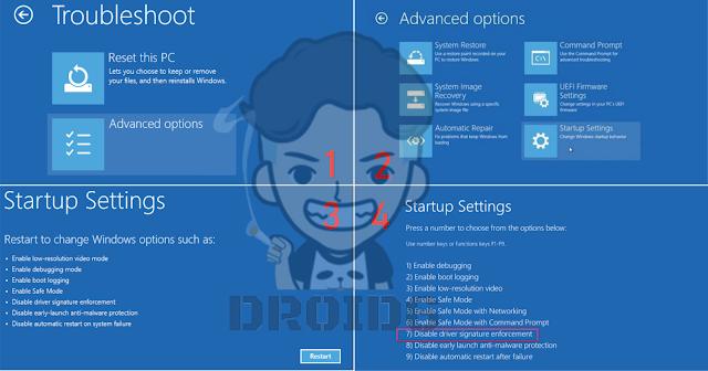 Cara Disable Driver Signature Enforcement Windows 7/8/10 64 Bit