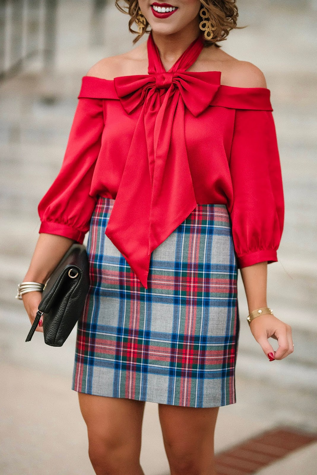 Dressed in Bows: Under $100 Bow Top + Plaid Skirt - Something Delightful Blog