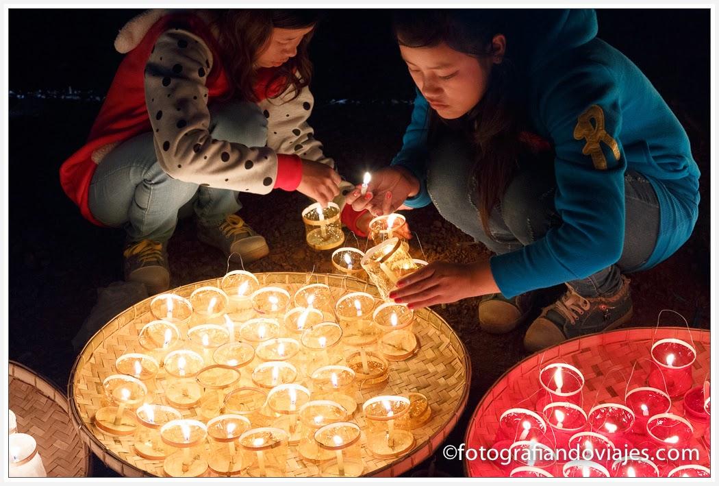 festival concurso de globos aerostáticos de aire caliente en Taunggyi lago Inle en Myanmar